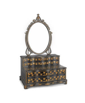 Chinese black lacquer dressing mirror