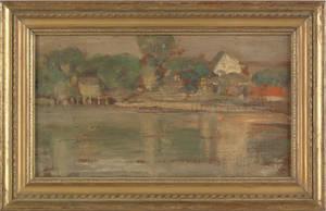 Oil on panel impressionist landscape