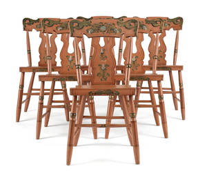 Set of six Pennsylvania painted plank seat chairs ca 1840