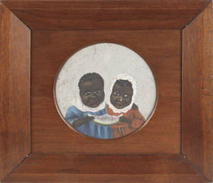 American oil on board of two black children eating watermelon 19th c