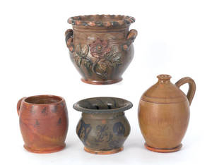 Four pieces of Stahl pottery redware