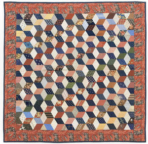 Lancaster County Pennsylvania tumbling blocks quilt late 19th c