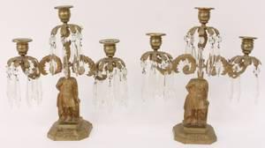 Pair Gilt Metal Figural 3 Light Girandoles