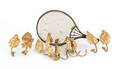 Nine brass curtain tie backs