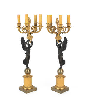 Pair of French bronze and ormolu candelabra table lamps