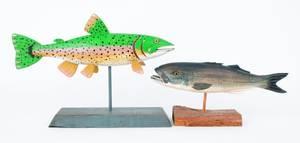 Sixteen contemporary fish decoys