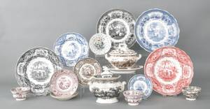 Sixteen pieces of transfer decorated Staffordshire