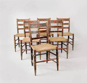 Set of six painted rush seat side chairs