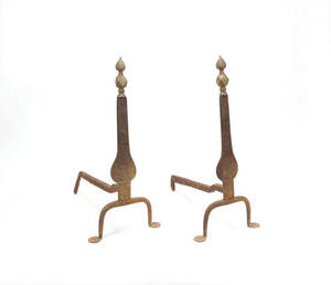 Pair of Federal knife blade andirons with brass finials