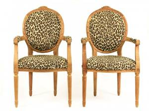 Pair of Louis XVI Style Fauteuils wLeopard Motif