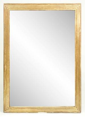 French Gilt Wood Reeded Wall Mirror L 19th C