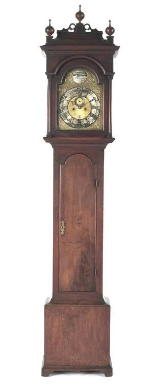 Important Philadelphia Queen Anne walnut tall case clock mid 18th c