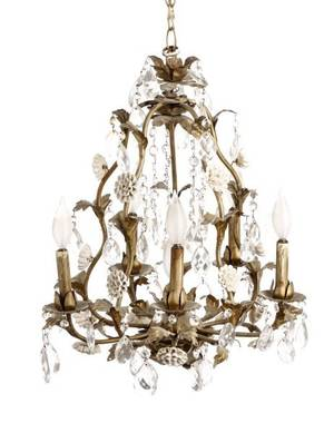 Iron Crystal and Porcelain Six Light Chandelier