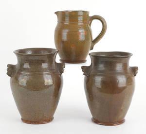 Pair of Thomas Stahl redware crocks