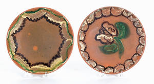 Two Stahl pottery redware pie plates dated