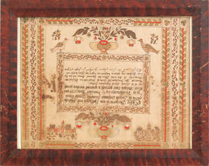 Berks County Pennsylvania watercolor and ink on paper fraktur birth certificate for the Borger family dated