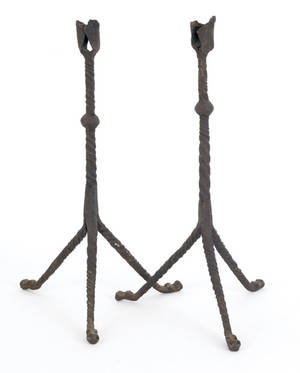 Two Continental wrought iron table top candleholders late 17th c