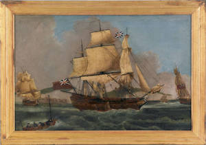 Primitive British oil on canvas ship portrait 19th c