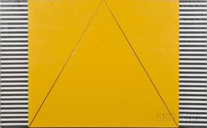 Terri Priest American 19282014 Fourpart Work Yellow Black and White Geometric Shapes