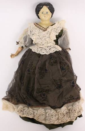 Griener Papier Mache Face Doll in Lace Dress