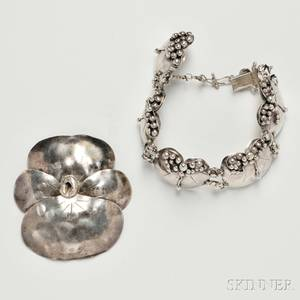 Mary Gage 18981993 Sterling Bracelet and Brooch