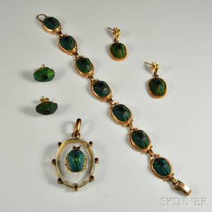 Group of Scarab Jewelry