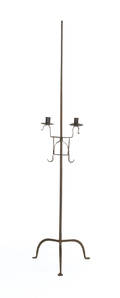 Wrought iron adjustable candlestand with two cups and penny feet