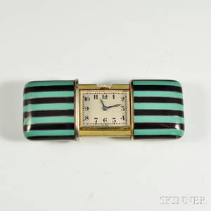 Ladys Sterling Silver and Enamel Purse Watch