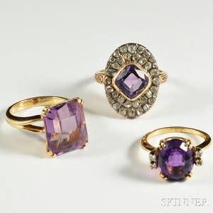 Three Gold and Amethyst Rings