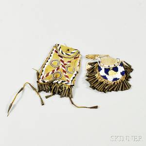 Two Apache Beaded Hide Bags
