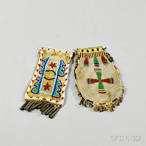 Two Plains Indian Beaded Hide Bags