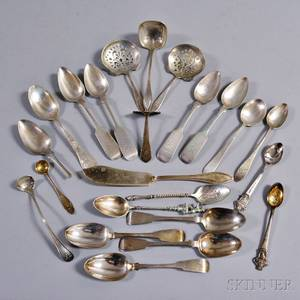 Group of Sterling Silver and Coin Silver Spoons and Serving Pieces