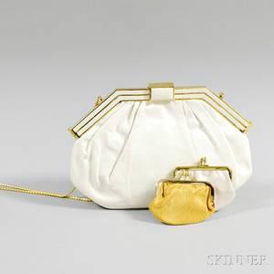 Judith Leiber White Snakeskin Evening Bag