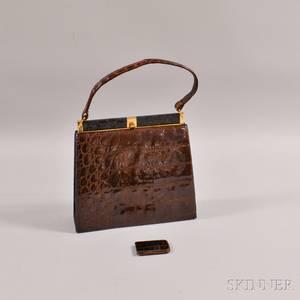 Vintage Brown Alligator Handbag and Money Clip