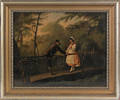 Pair of German oil on canvas courting scenes