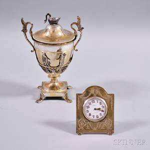 Sterling Silver Desk Clock and Silverplated Urn