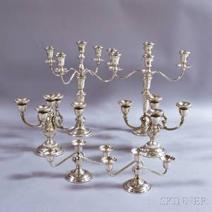 Three Pairs of Sterling Silver Weighted Candelabra