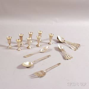 Eight Randahl Sterling Silver Cordial Glasses and a Group of Sterling Silver Flatware