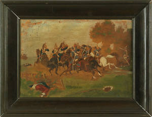 Pair of Continental oil on panel military battle scenes