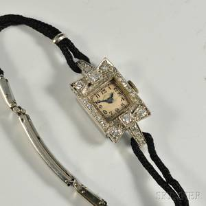 Art Deco Hamilton Platinum and Diamond Ladys Wristwatch
