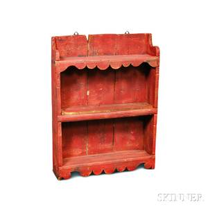 Redpainted Pine Hanging Shelf