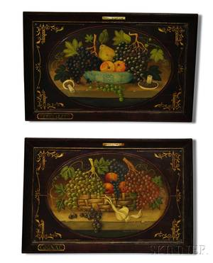 Pair of French Painted Still Life with Fruit Panels