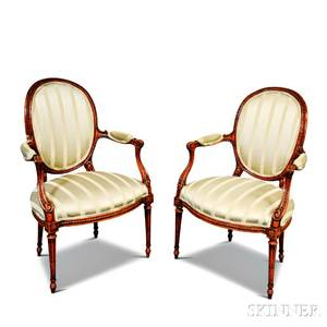 Pair of Louis XVIstyle Fruitwood Armchairs