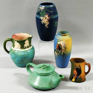 Two Pieces of Weller Pottery Dickensware a Weller Vase a Pisgah Pitcher and an Art Pottery Teapot