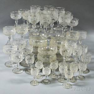 Approximately Sixty Pieces of Etched Grapevinepattern Crystal Stemware and Finger Bowls