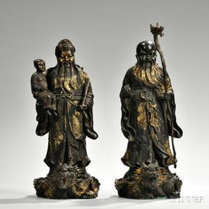 Pair of Giltbronze Figures of Scholars