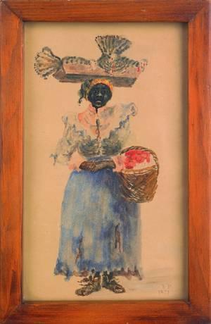 American watercolor portrait of a black woman