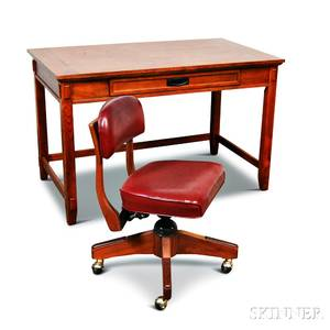 Contemporary Missionstyle Oak Desk and Office Chair