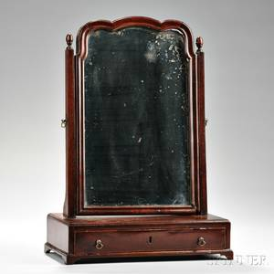 Mahogany Veneer Dressing Mirror and a William and Mary Blackpainted Caned Side Chair