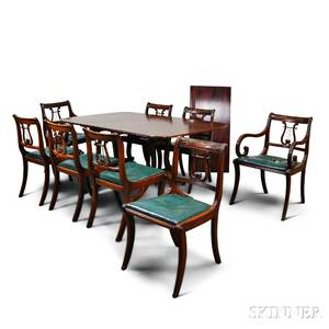 Classicalstyle Carved Mahogany Dining Table and Eight Chairs